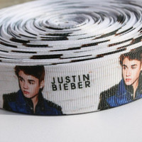 """Justin Bieber grosgrain printed ribbon 1"""" or 3 flatback buttons for hair bows, scrapbooking, gift wrapping and more"""