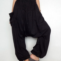 Black Drop crotch long trouser,Unisex harem Baggy pants, unique cotton blend (Drop pants-10).