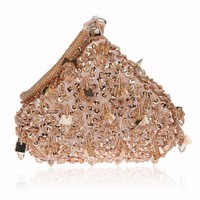 Champagne Beading Crystal Women Evening Bags Wedding Party Cocktail Handbags And Purses Bridal Rhinestone Small Day Clutches