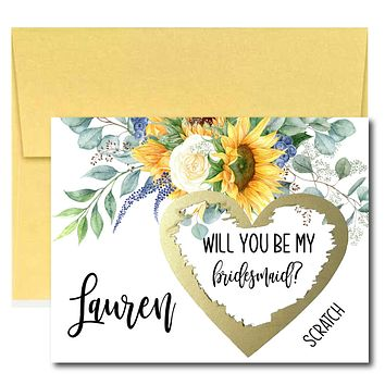 Sunflower Will You Be My Bridesmaid Scratch Off Cards