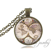 'Old World' Map Pendant Necklace