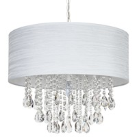 Large 5 Light Crystal Plug-In Chandelier with Cylinder Shade (White)