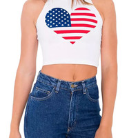 White American Flag Printed Crop Top