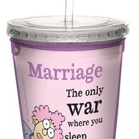 Tree-Free Greetings cc33919 Hilarious Aunty Acid Double-Walled Cool Cup with Reusable Straw, Enemies, 16-Ounce