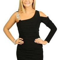 one shoulder homecoming dress with long sleeve and rhinestones - debshops.com