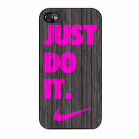 Nike Just Do It Wood Colored Darkwood Wooden Pink iPhone 4s Case