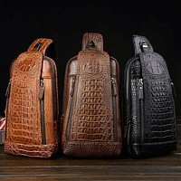 Leather Crocodile Pattern Chest Sling Bag