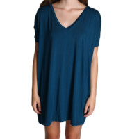 Majolica Blue Piko Tunic V-Neck Short Sleeve Dress