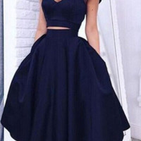 Navy Blue Knee Length Cocktail Dress Two Piece Off the Shoulder Homecoming Dress