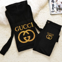 Gucci New pleuche velvet casual wear tracksuit cultivate one's morality Black