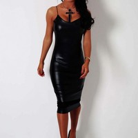 Midnight Fever Black Leather Effect Mesh Panel Midi Dress | Pink Boutique