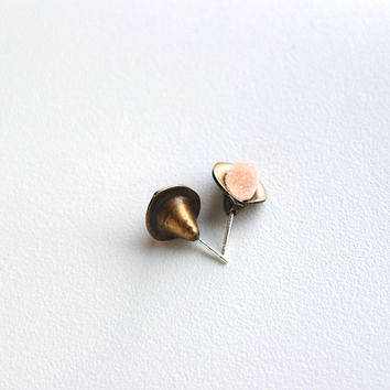 ALICYA stud earrings // Himalayan mineral, sterling silver, calla lily vintage brass