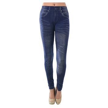 Casual Stretchy Denim Jean  One Size Leggings Pants