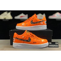 NIKE Air Force 1 Just Do It AF1 joint stitching men and women low-top sports shoes Orange
