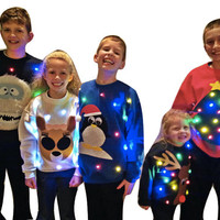 Girls Light Up UGLY CHRISTMAS SWEATER - Clarice!!! (Also available in Hoodie!)   _____**Fast Shipping**_____