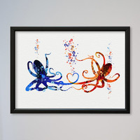 Octopus Love Watercolor Print Valentine's Day Gift Wedding Poster Gift Illustration Art Watercolor Octopuses In Love