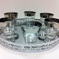 Silver Rimmed Ombre Double Shot Glasses by vintage19something