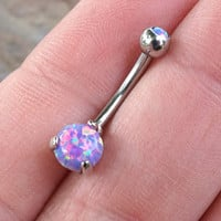 Purple Fire Opal Belly Button Ring