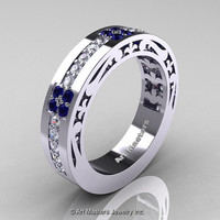 Womens Modern Vintage 14K White Gold Diamond Blue Sapphire Wedding Band R474F-14KWGBSD