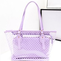 Dot Pattern Swimming Bags Beach Bag Sport Bags Transparent Jelly Style Handbag with Inner Bag