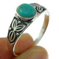 Native American Turquoise Ring size 8 US 925 by FineArt925 on Etsy