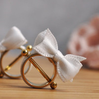 Gold Plated Nipple Piercing Cute Baby Girl with a Little White Bow.