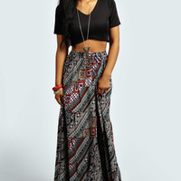 Isabella Multi Tiered Coloured Aztec Maxi Skirt