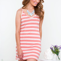 Chill Out Striped Dress - Coral