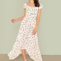 Off Shoulder Floral Print A Line Drawstring Maxi Dress