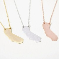 Sunny California State Map Necklace, Cali Love - Gold, Rose Gold & Silver