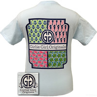 Girlie Girl Original Ocean Pattern Quilt Anchor Turtle Whale Seahorse Chambray Comfort Colors  Bright T Shirt