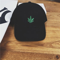 Vintage Leaf Embroidered Baseball Cap Hat