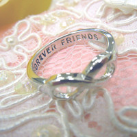 """Infinity Ring """"FOREVER FRIENDS"""" Infinity best friend forever ring, Sister Ring, Best Friends, Infinity friendship Ring"""