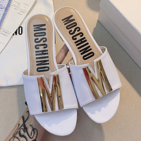 Moschino  Spring and summer letter flat bottom slipper shoes