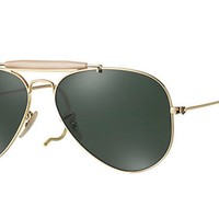 New RAY BAN Sunglasses AVIATOR OUTDOORSMAN Gold RB 3030 L0216 58MM G-15 Lens