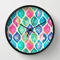 Watercolor Ogee Patchwork Pattern Wall Clock by Micklyn