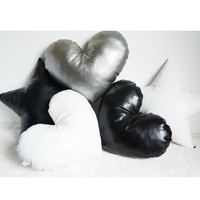Leather Heart and Star Pillows
