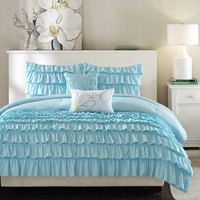 Light Blue Full/Queen 5 Piece Comforter Set with 2 Shams & 2 Pillows