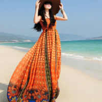 Orange Bohemian Style Maxi Dress