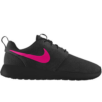 Nike Roshe Run One Black with Custom Pink Swoosh Paint