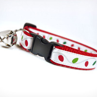 "Holiday Cat Collar - ""Christmas Lights"" - Holiday String Lights on Red"