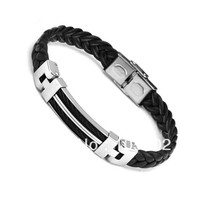 Men's Black Silver Bracelet Leather Wristband Fashion Gift Stainless Steel