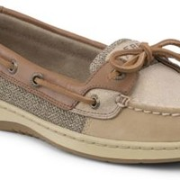 Sperry Top-Sider Angelfish Sparkle Suede 2-Eye Boat Shoe Linen/NaturalSparkleSuede, Size 5.5M  Women's Shoes