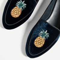 FLAT VELVET SHOES WITH EMBROIDERY DETAIL - View all-SHOES-WOMAN | ZARA United States