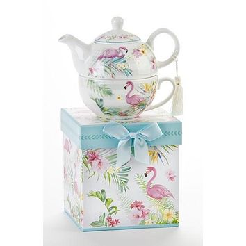 Tropical Flamingo Porcelain Tea For One With Matching Gift Box
