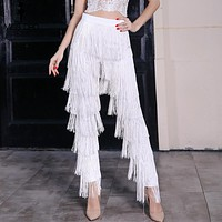 Fashion high waist tassel zip pants
