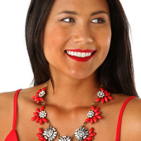 Sparkling Personality Necklace: Red/Silver
