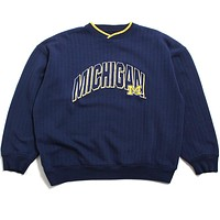 University of Michigan Embroidered Outline Arch Ribbed Starter Crewneck Sweatshirt Navy (XL)