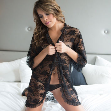 Black Sheer ultra sexy lace Robe lingerie