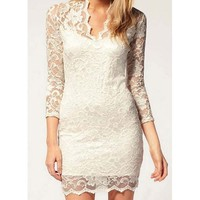 White V-Neck Lace Bodycon Dress